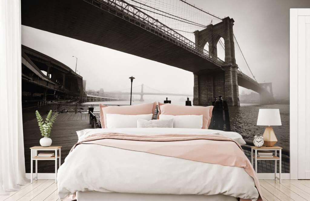 Svartvit tapet Brooklyn bridge 2