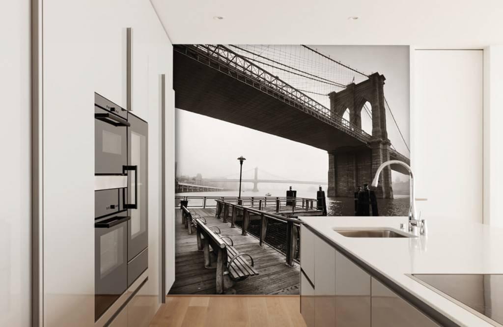 Svartvit tapet Brooklyn bridge 4