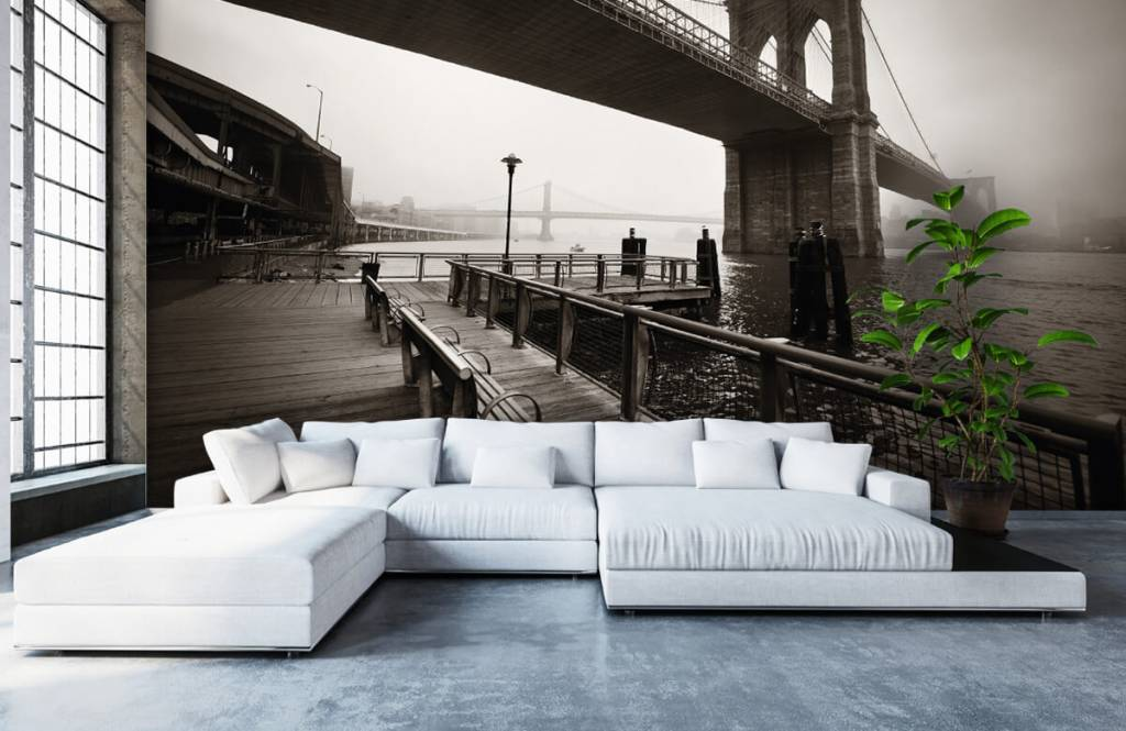 Svartvit tapet Brooklyn bridge 6