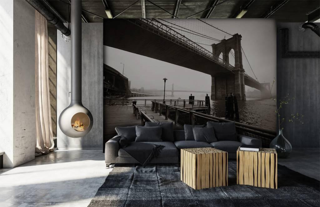 Svartvit tapet Brooklyn bridge 7