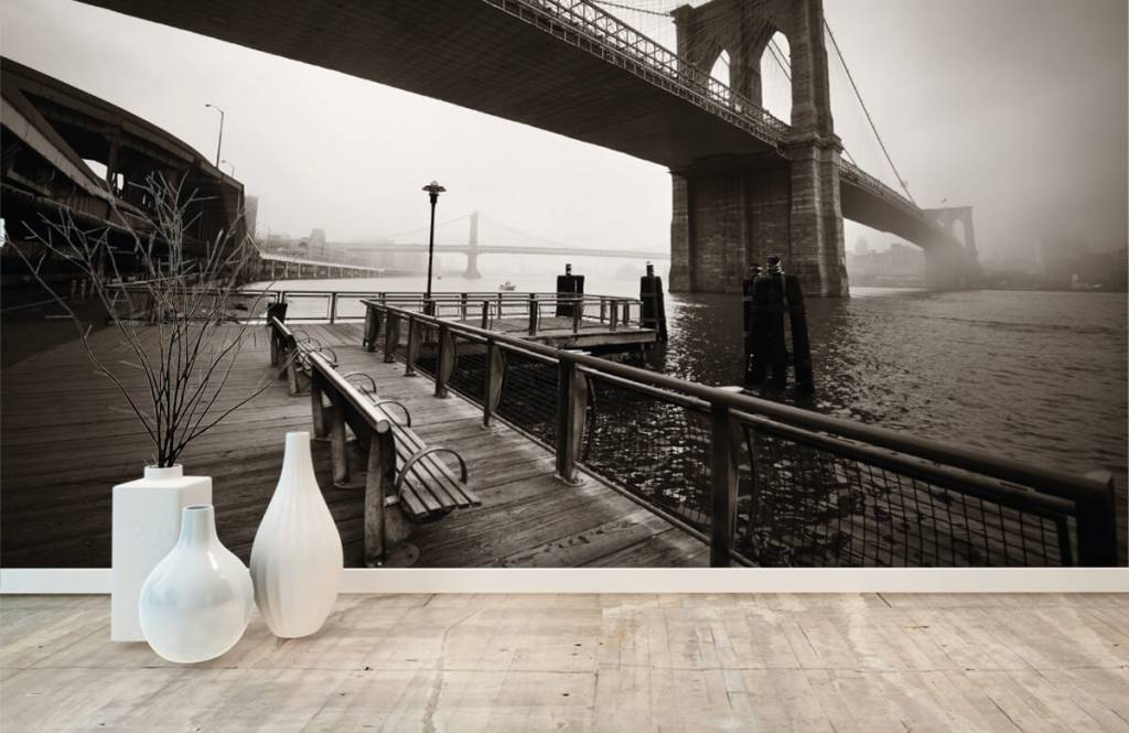 Svartvit tapet Brooklyn bridge 8