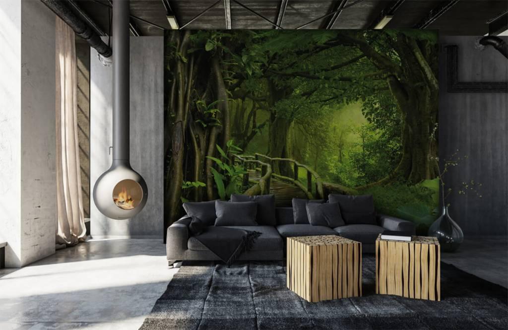 Träd Träbro till och med en grön djungel 6