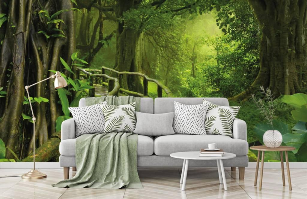 Träd Träbro till och med en grön djungel 7