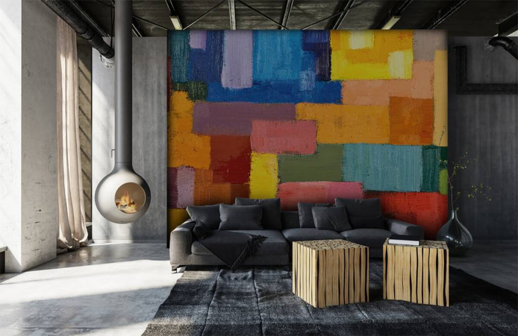 Abstrakt tapet Färgglad ytfördelning 6