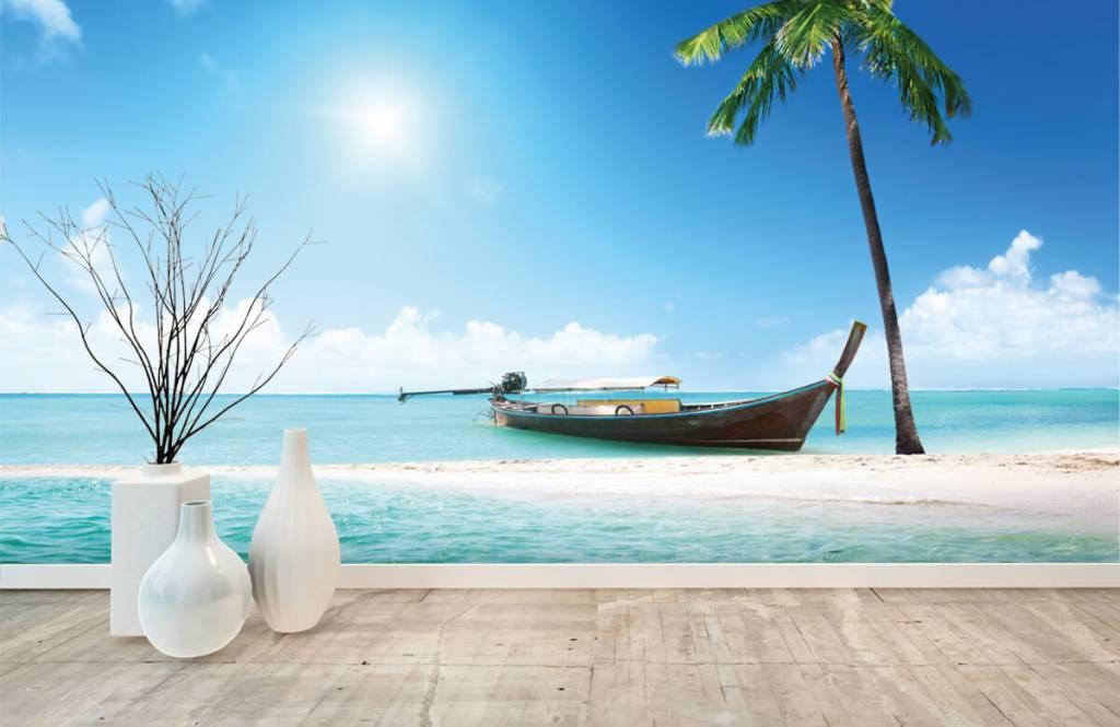 Stränder Obebodd ö och en båt 1