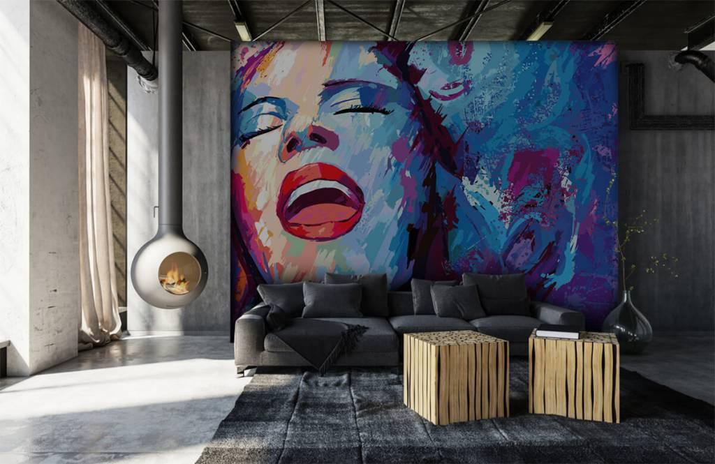 Modern tapet Målning av en abstrakt kvinna 1