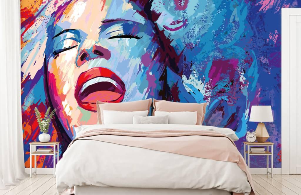 Modern tapet Målning av en abstrakt kvinna 2