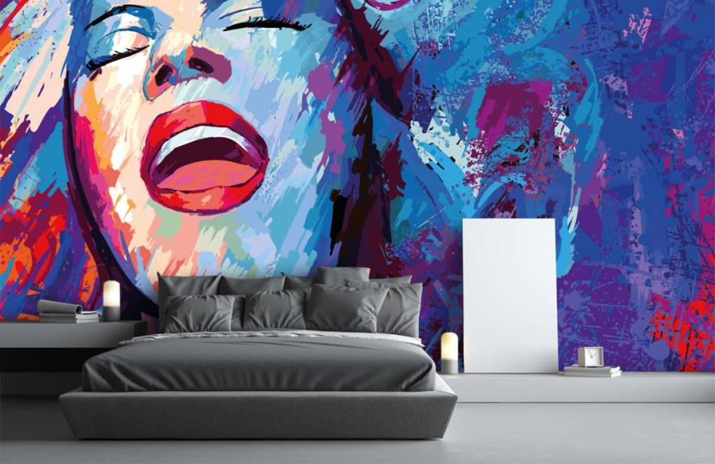 Modern tapet Målning av en abstrakt kvinna 3
