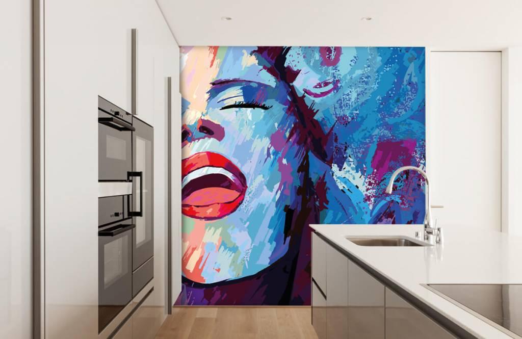 Modern tapet Målning av en abstrakt kvinna 4