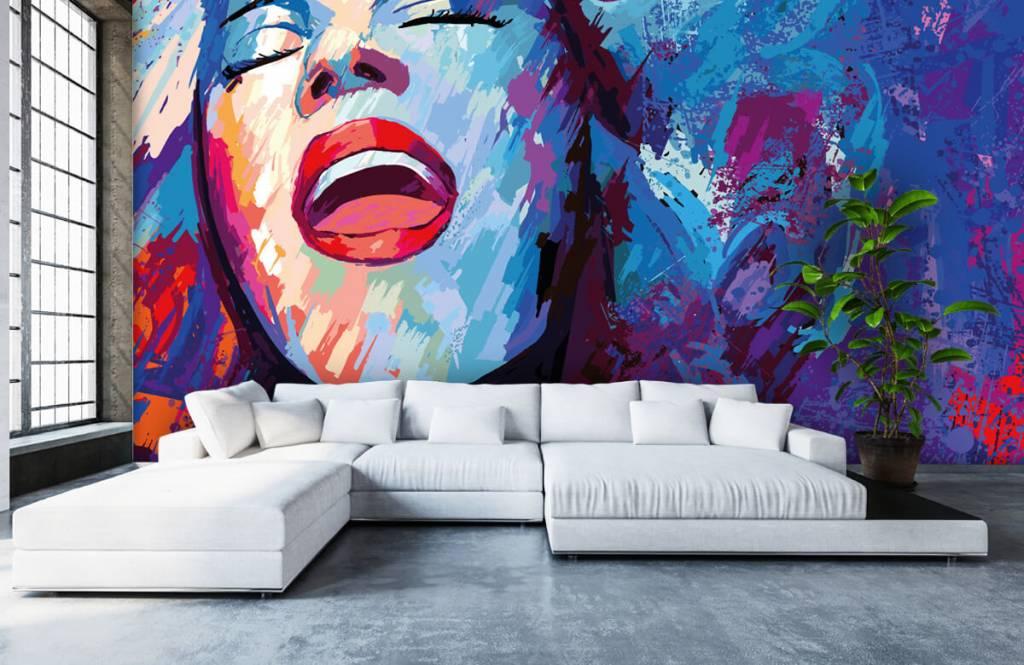Modern tapet Målning av en abstrakt kvinna 6