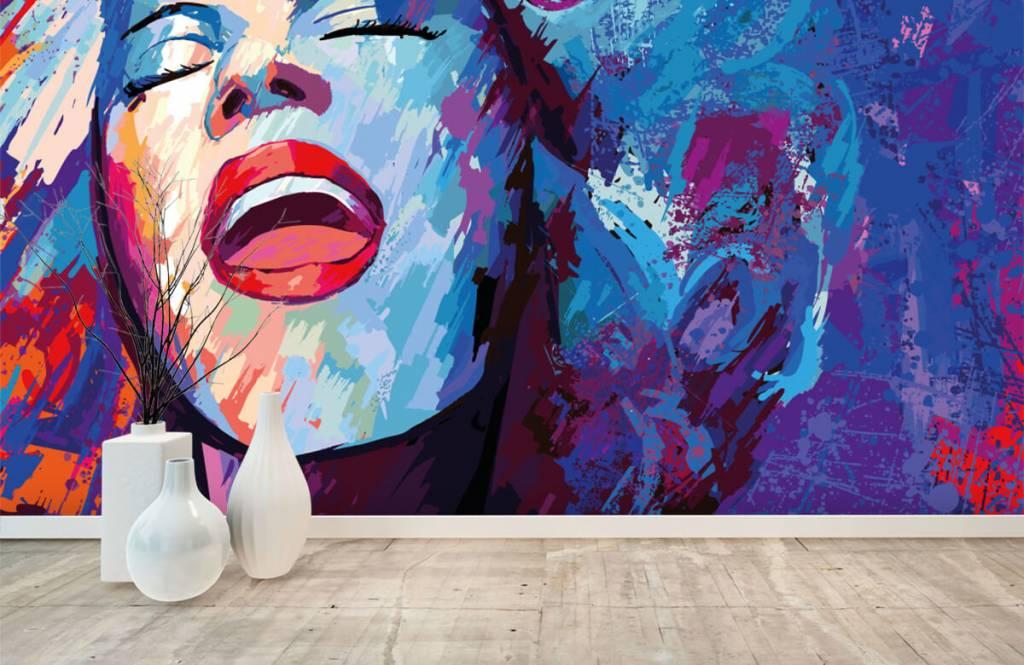 Modern tapet Målning av en abstrakt kvinna 8