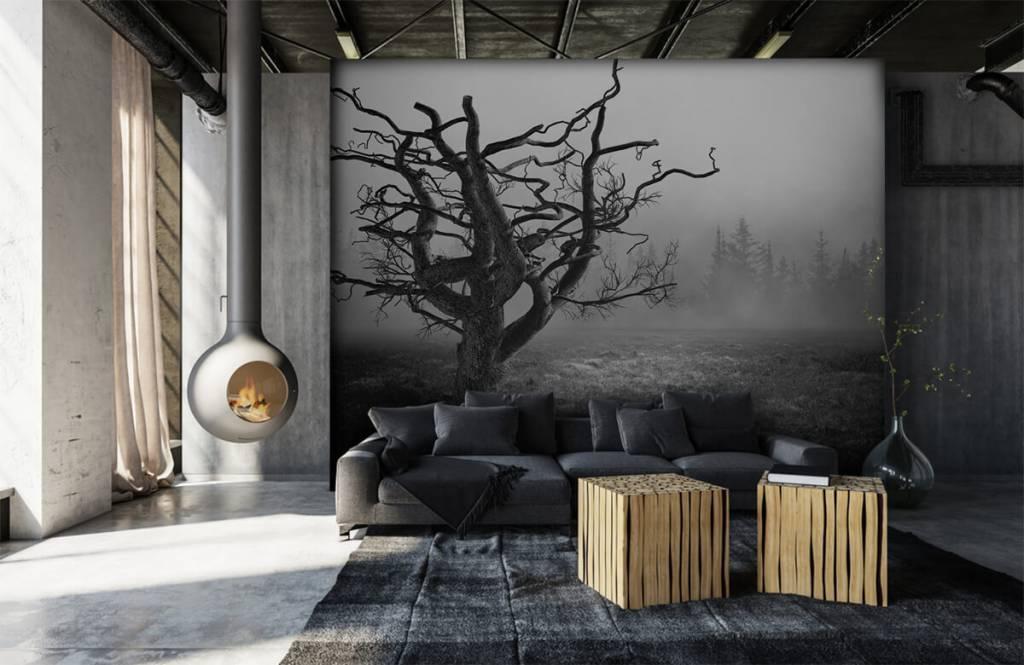 Svartvit tapet Elegant träd 6