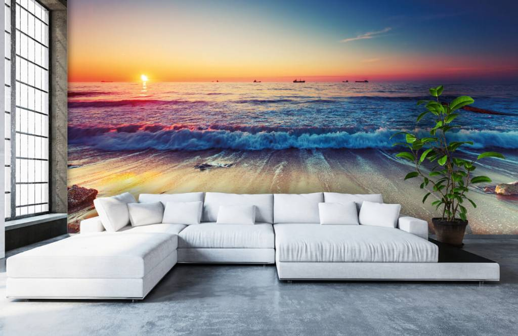 Stränder Solnedgång över havet 1