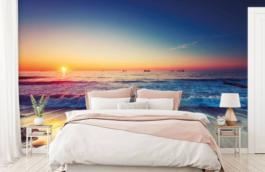 Stränder Solnedgång över havet 2