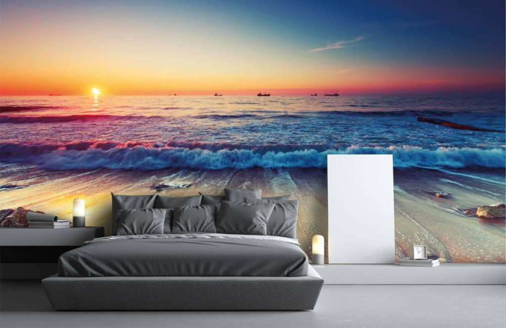 Stränder Solnedgång över havet 3