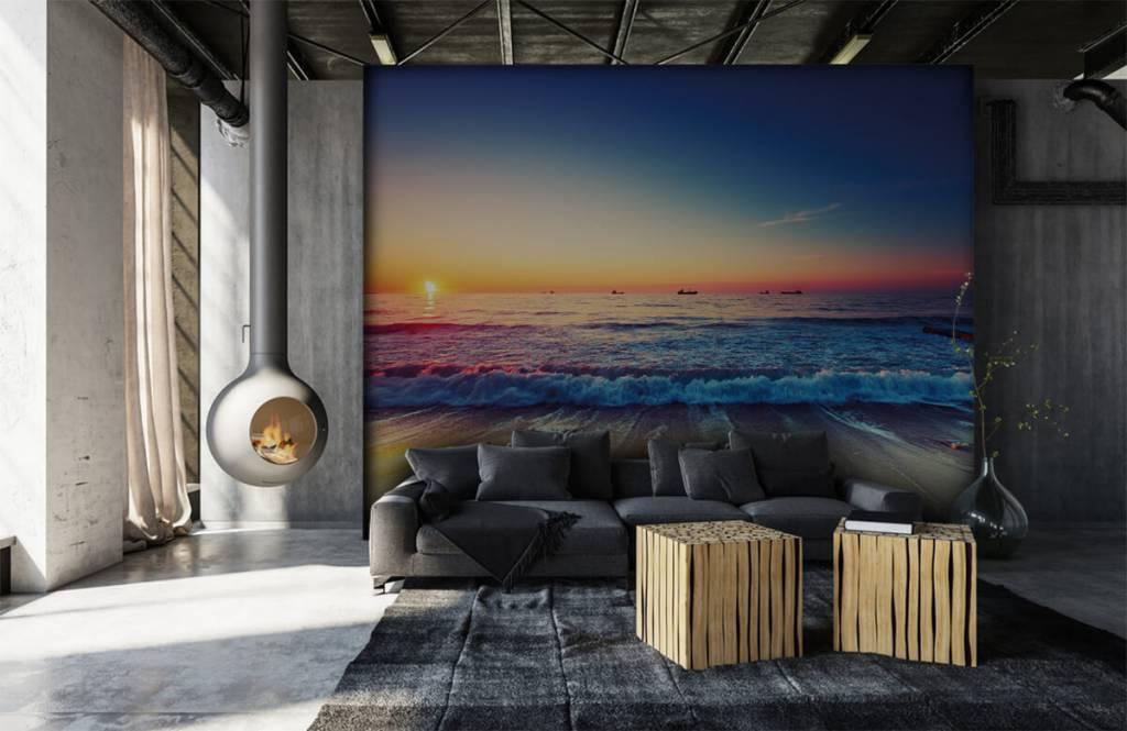 Stränder Solnedgång över havet 6