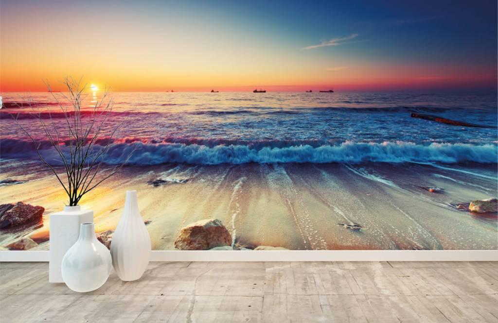 Stränder Solnedgång över havet 8