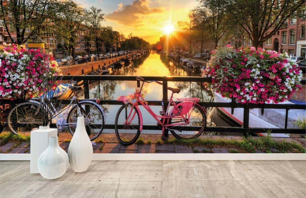 Städer tapet Cykla på en bro med blommor 8