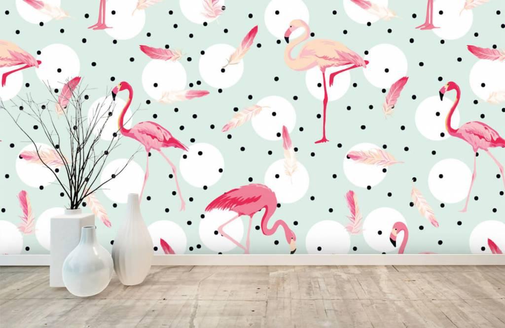 Barn tapeter Flamingor och fjädrar 1