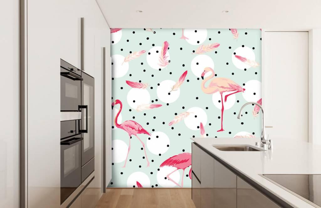 Barn tapeter Flamingor och fjädrar 4