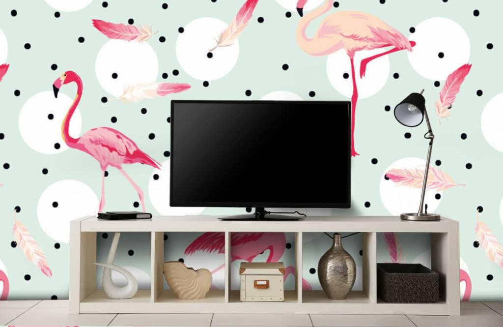 Barn tapeter Flamingor och fjädrar 5