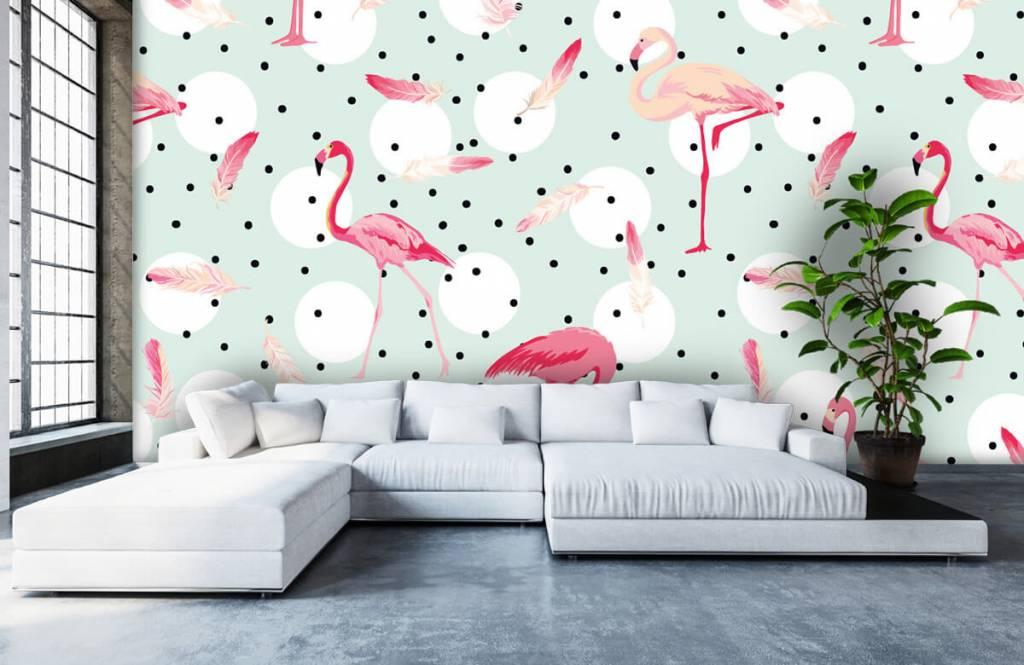 Barn tapeter Flamingor och fjädrar 6