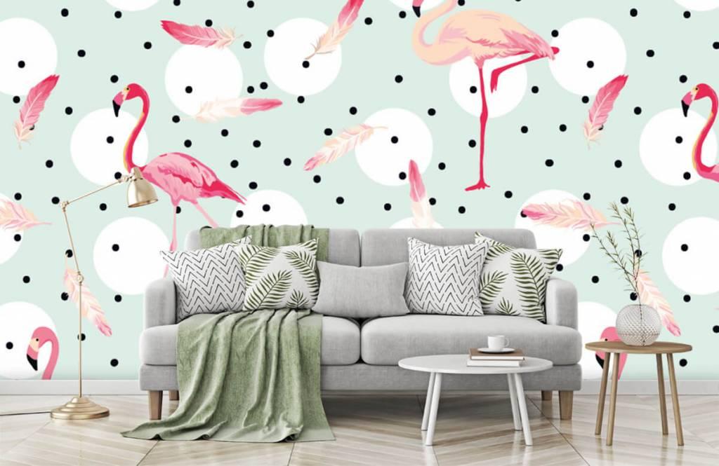 Barn tapeter Flamingor och fjädrar 8