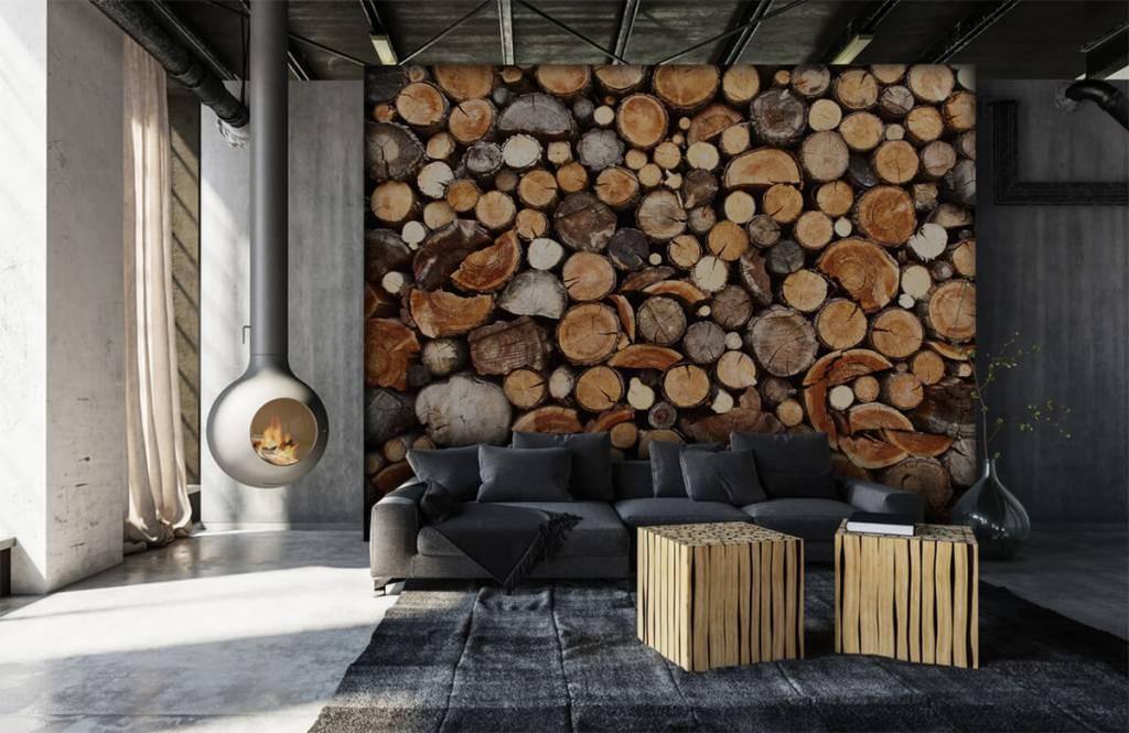 Trä tapeter Staplade tradstammar 1