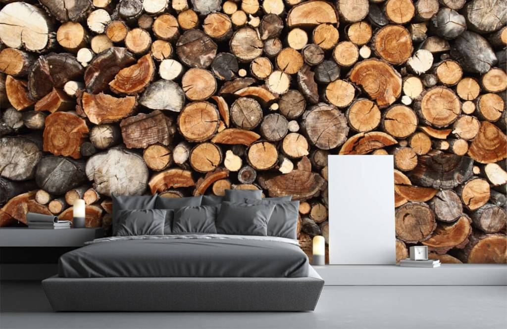 Trä tapeter Staplade tradstammar 3