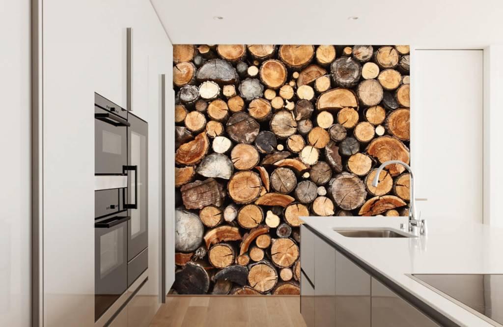 Trä tapeter Staplade tradstammar 4