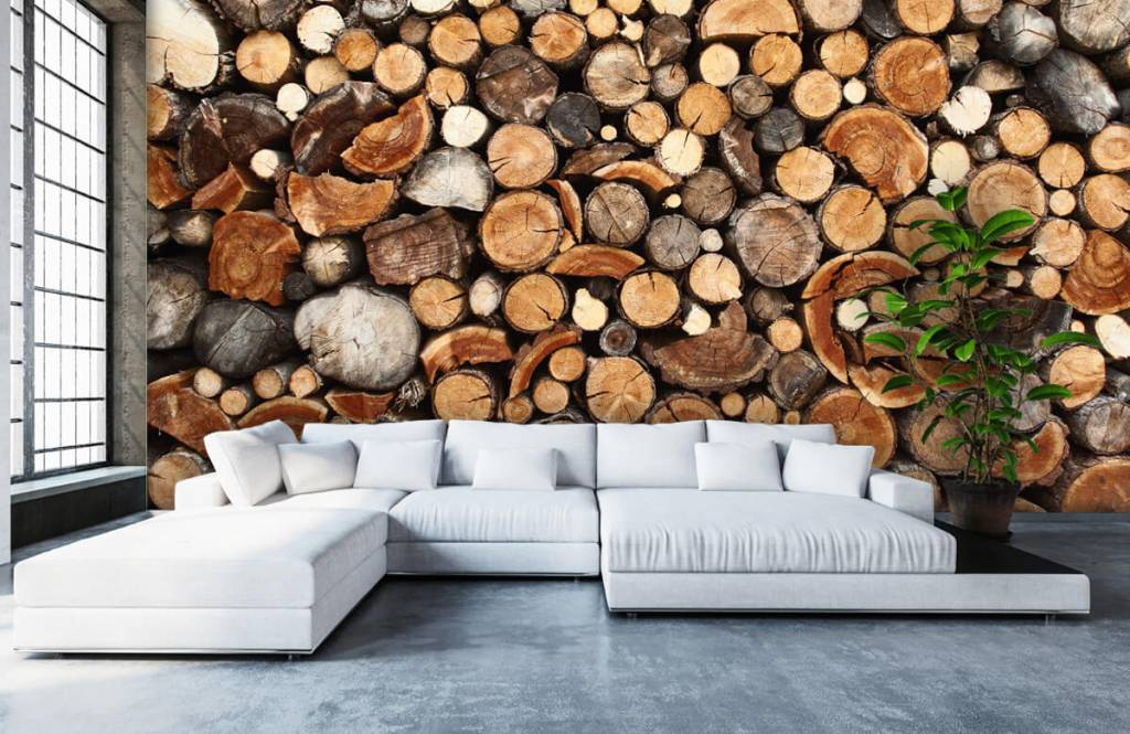 Trä tapeter Staplade tradstammar 6