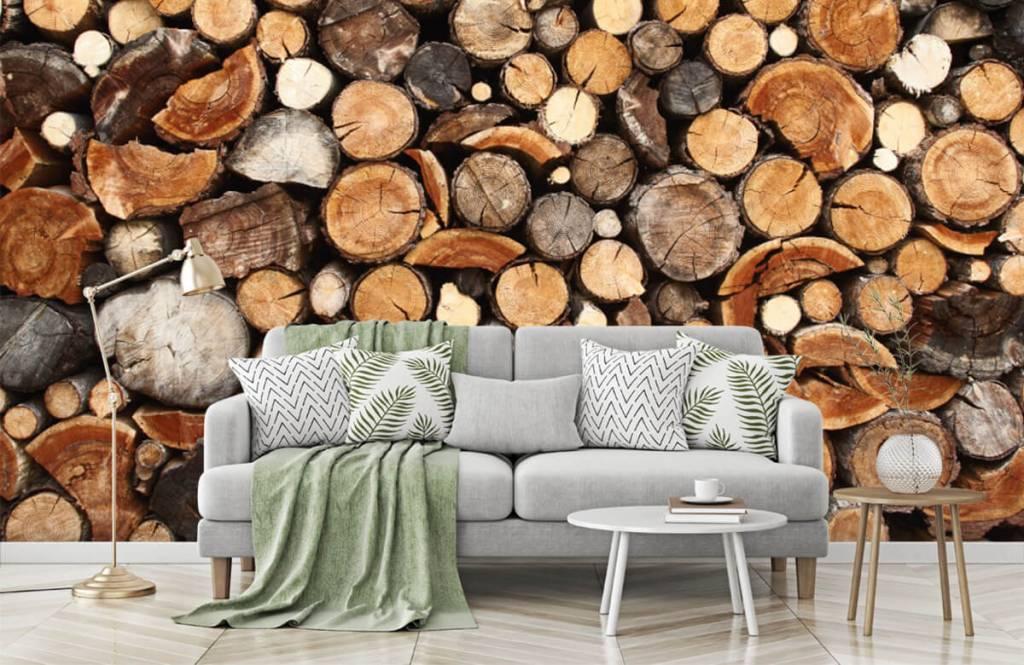Trä tapeter Staplade tradstammar 7