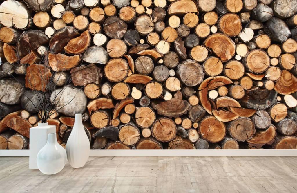 Trä tapeter Staplade tradstammar 8