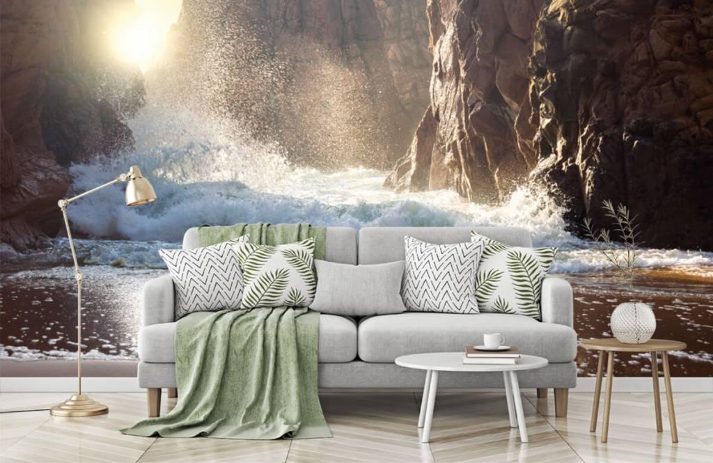 Hav och hav Vågor mot stenar 2