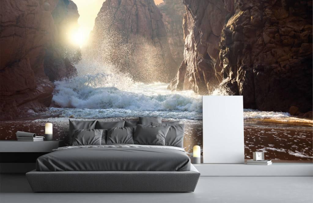 Hav och hav Vågor mot stenar 3