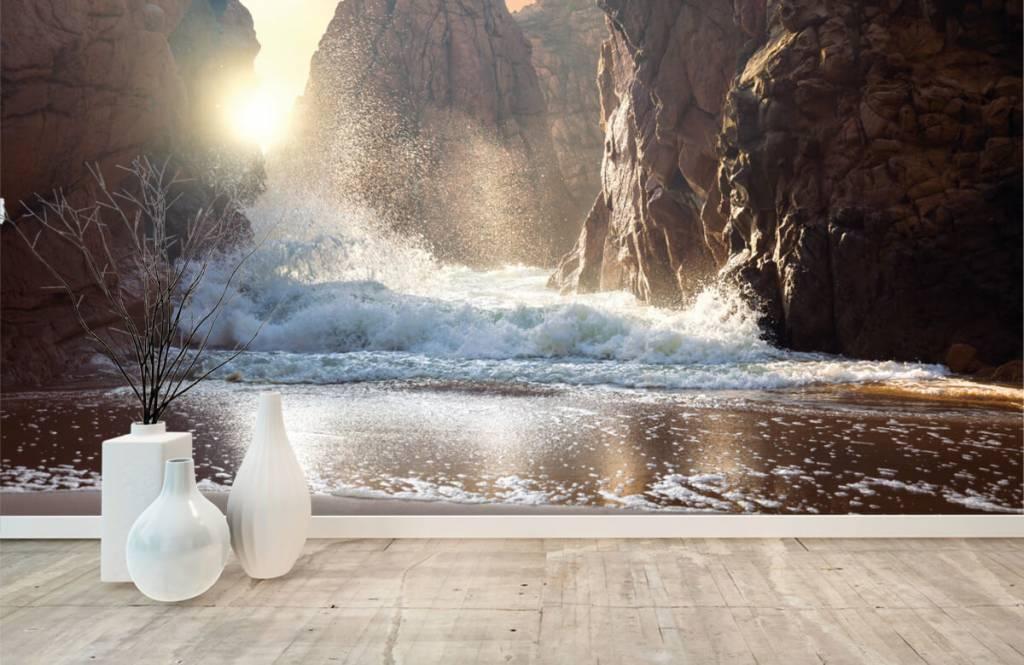 Hav och hav Vågor mot stenar 8