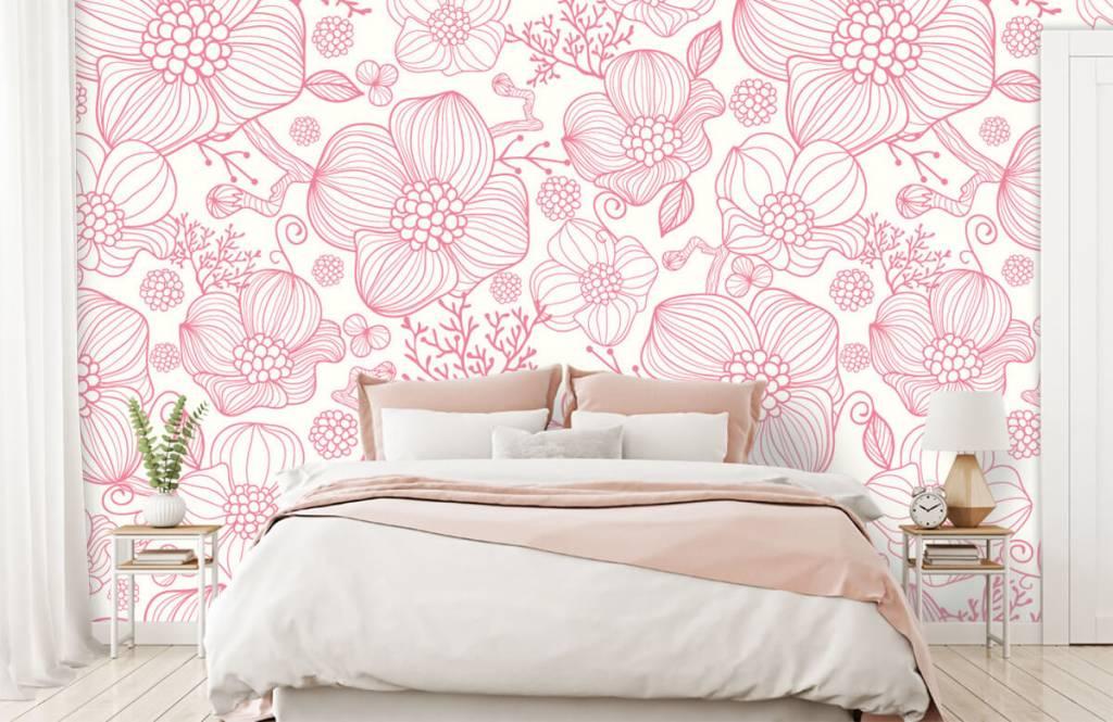 Mönster Stora rosa blommor 1
