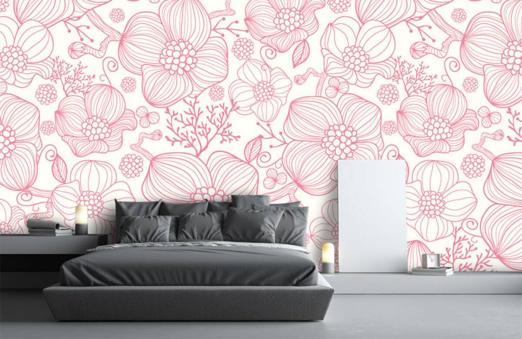 Mönster Stora rosa blommor 2
