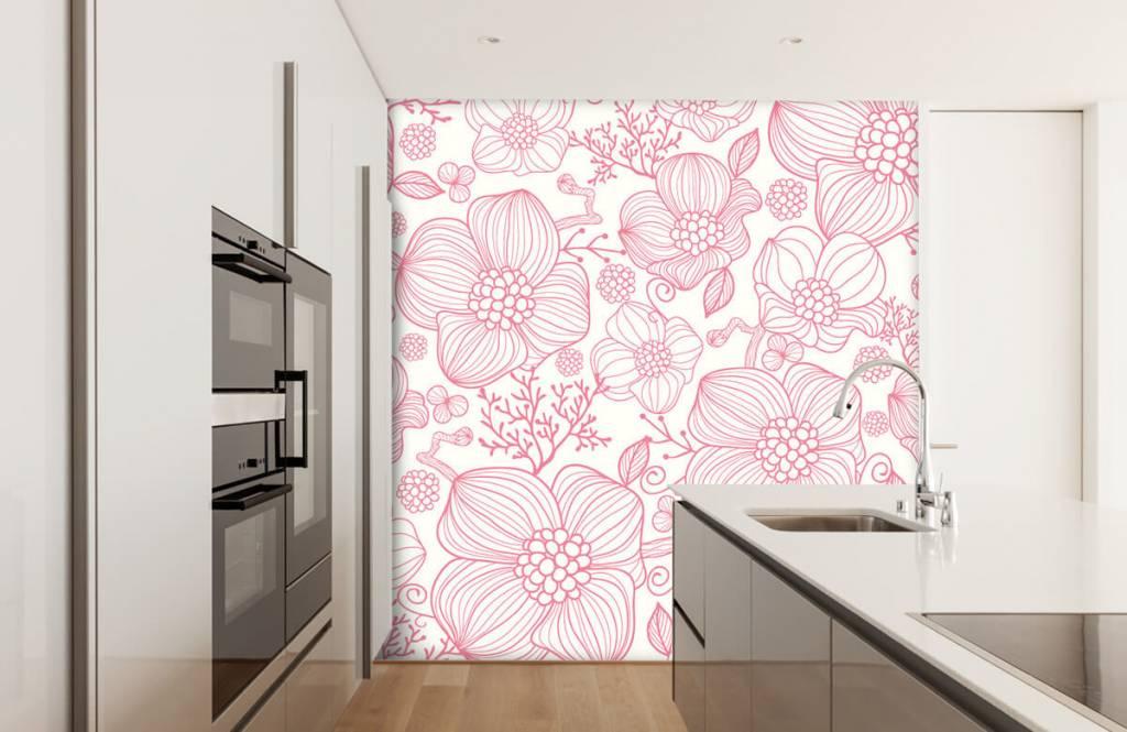 Mönster Stora rosa blommor 3