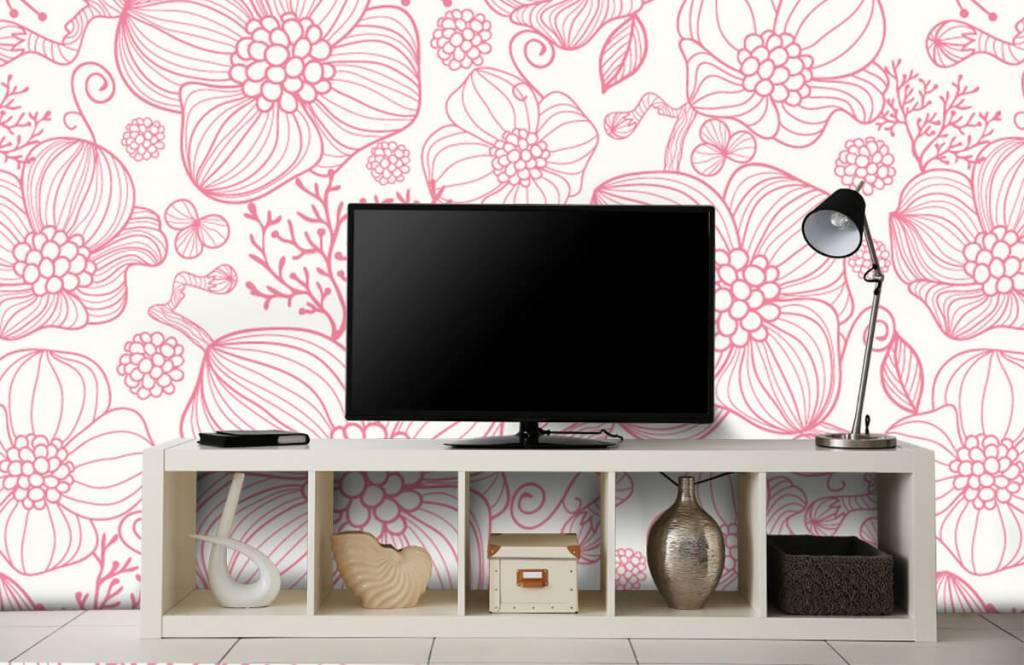 Mönster Stora rosa blommor 4