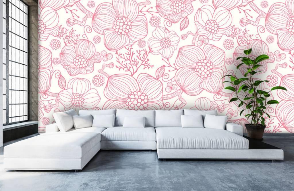 Mönster Stora rosa blommor 5