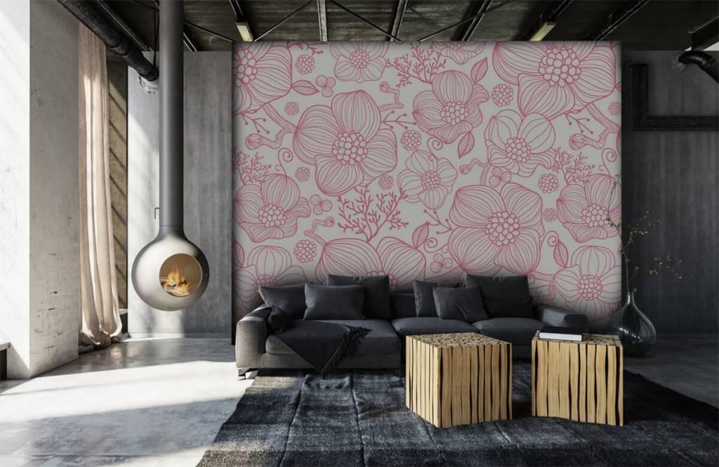 Mönster Stora rosa blommor 6