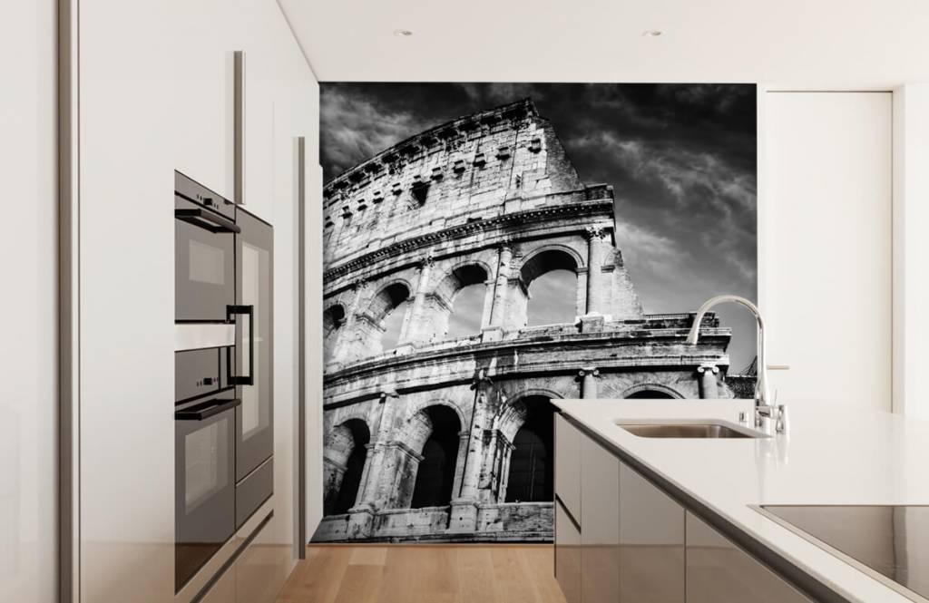 Svartvit tapet Colosseum i Rom 5