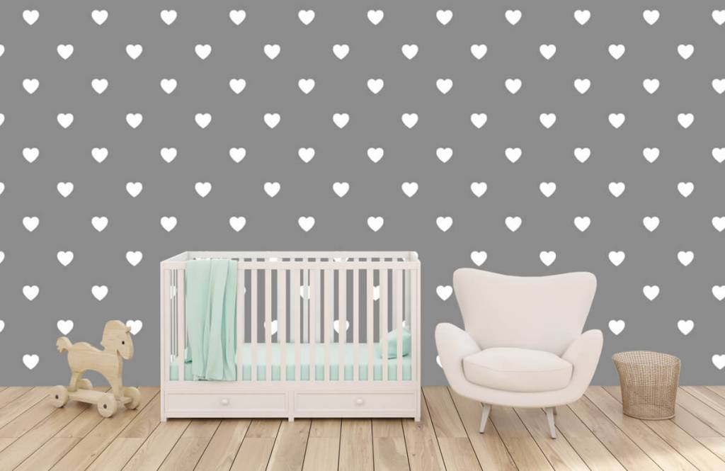 Baby tapeter Små vita hjärtan 6
