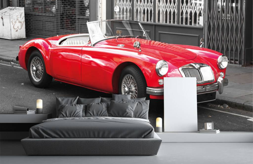 Transport Röd klassisk bil 3