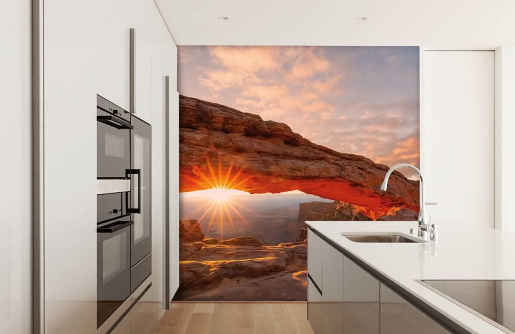 Berg Solnedgång under stenar 3