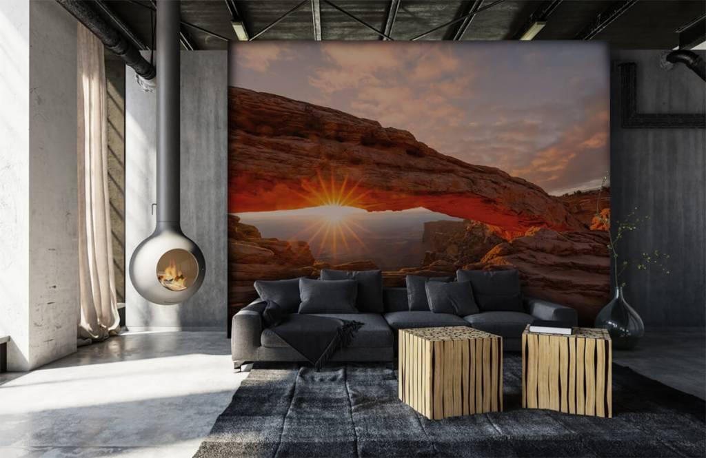 Berg Solnedgång under stenar 6