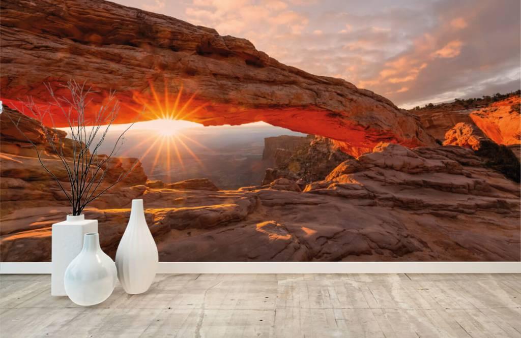 Berg Solnedgång under stenar 8