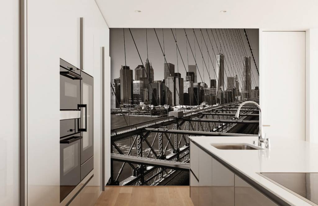 Svartvit tapet skyline Manhattan 4