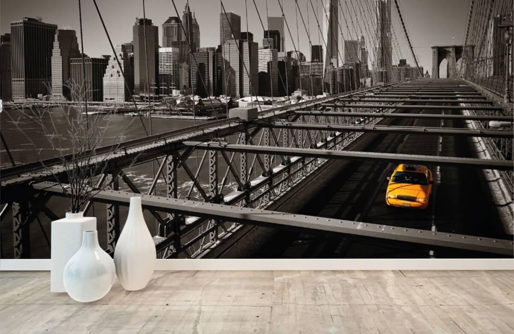 Svartvit tapet skyline Manhattan 8